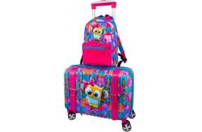 Чемодан DeLune Lune-001 детский с 3D изображением в комплекте с рюкзаком для девочек