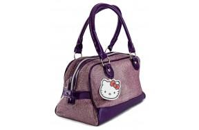 Сумка Hello Kitty для девочек прямоугольная  фиолетовая с блеском (HK-01-viol-pr)