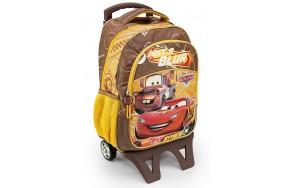 Рюкзак Hakancanta Cars Тачки Молния Маквин школьный с детской подставкой на колесах коричневый