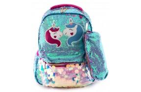 Рюкзак школьный Jasmine Star Unicorns с пайетками для девочек с пеналом