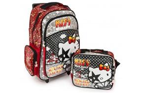 Рюкзак Hakancanta Kiss Hello Kitty Хеллоу Китти Рок-Звезда школьный с детской подставкой на колесах