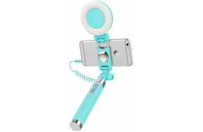 Монопод Rock Selfie stick with lightning wire control & light Blue