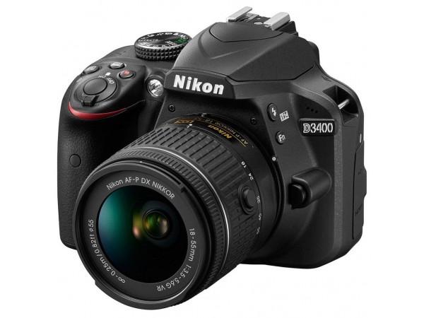 Зеркальный фотоаппарат Nikon D3400 kit (18-55mm VR) Black в Киеве. Недорого Фотоаппараты